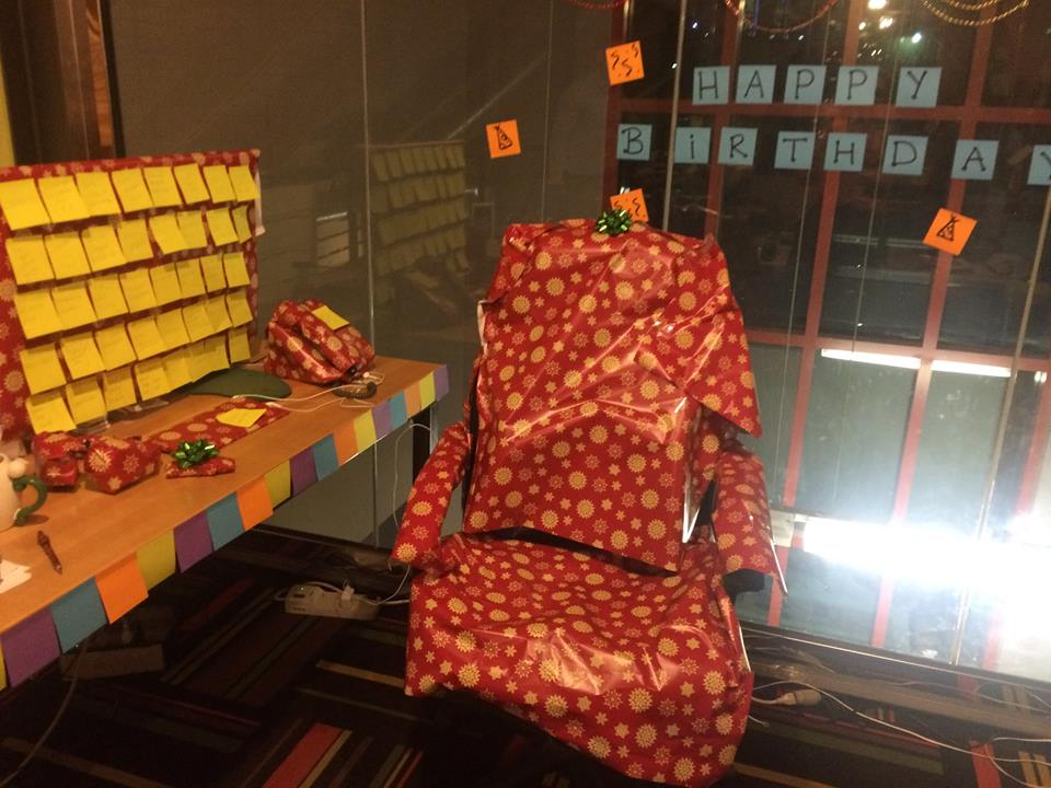 That time we wrapped Julio's desk in wrapping paper for his birthday...