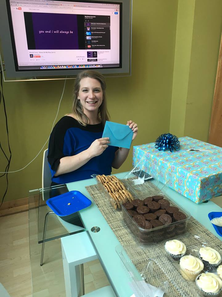 One of our designers, Theresa, at the baby shower we threw her!